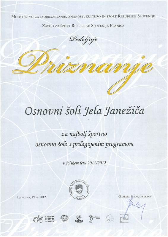 Šolsko leto 2011/2012: Priznanje za najbolj športno šolo